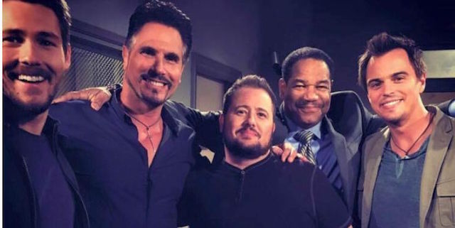 Chaz Bono e Dan Martin sul set di Beautiful