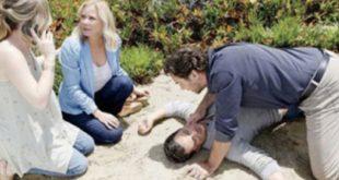 La caduta di THOMAS dalla scogliera a Beautiful / Copyright foto: CBS e JPI Studios