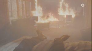 Ariane appicca il fuoco alla baita, Tempesta d'amore © ARD Screenshot