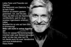 Annuncio della morte di Dietrich Adam (Fonte Instagram)