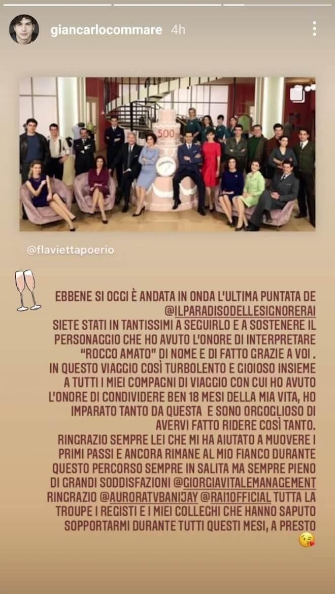 Giancarlo Commare, il saluto su Instagram / Il paradiso delle signore