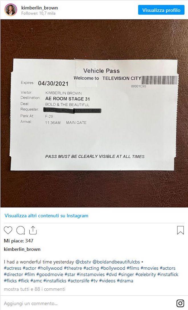 Kimberlin Brown / Messaggio su Instagram